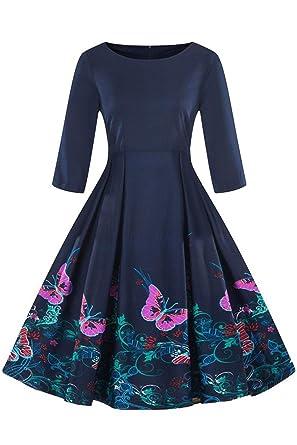 Axoe Damen 60er Jahre Petticoat Rockabilly Kleider Mit 3 4 Armel
