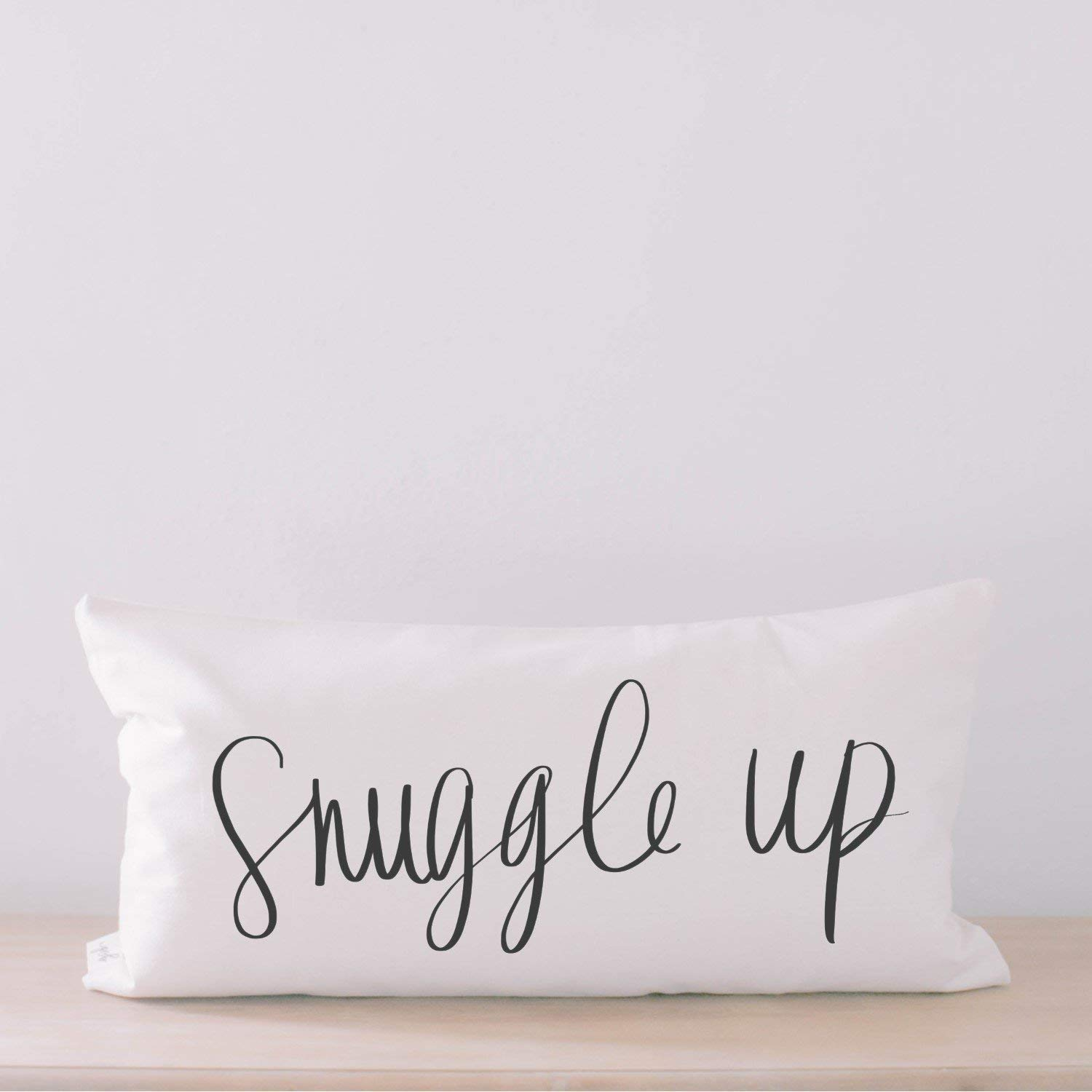 Lumbar Pillow - Snuggle Up, Handmade in the USA, calligraphy, home decor, wedding gift, engagement present, housewarming gift, cushion cover, throw pillow