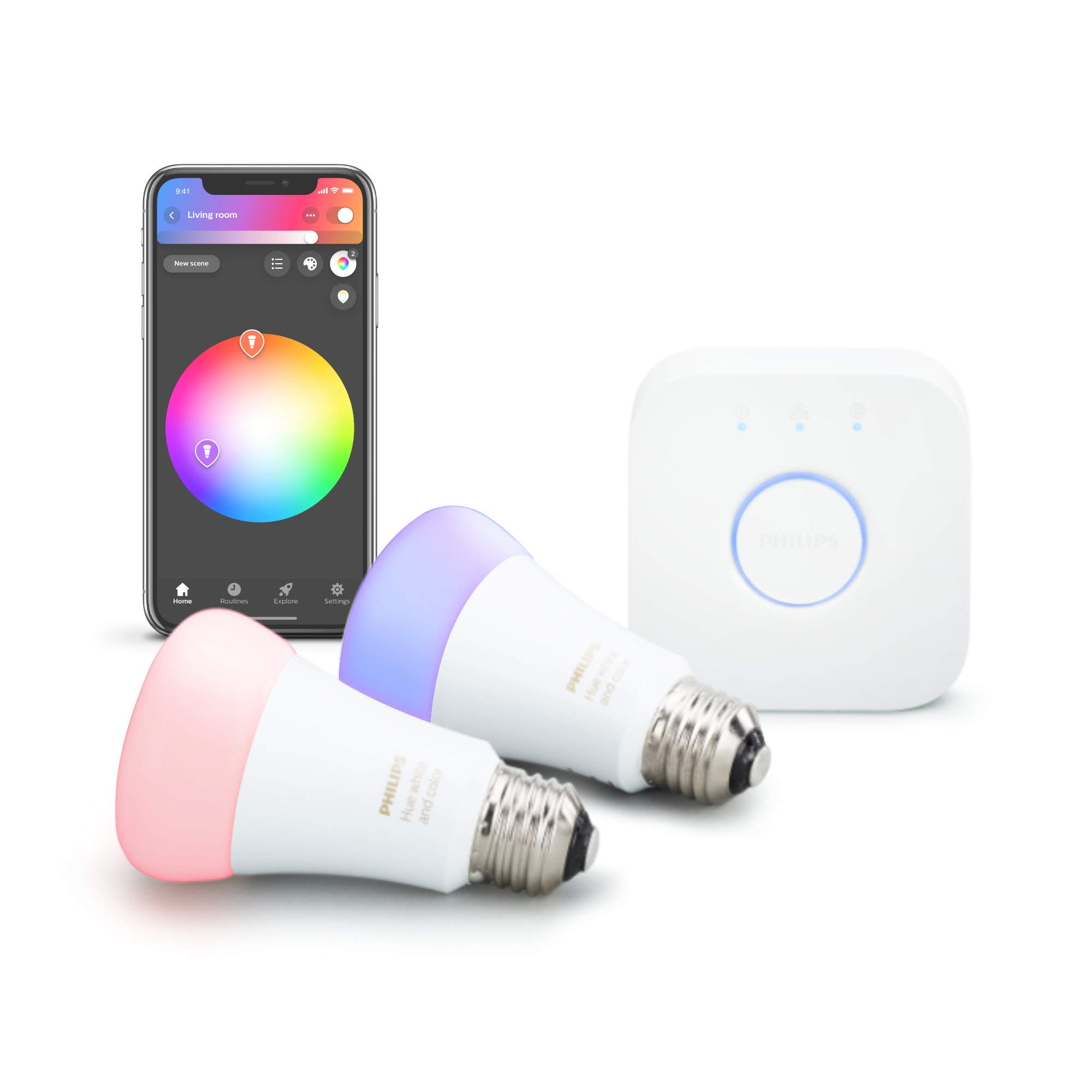 Philips Hue 2-Pack Premium Smart Light Starter Kit, 16 million colors, for most lamps & overhead lights, Works with Alexa, Apple HomeKit and Google Assistant