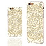iPhone 6 Case, iphone 6 4.7 case,iphone6 case ,ChiChiC full Protective unique Stylish Case slim flexible durable Soft TPU Cases Cover for iPhone 6 4.7 inch,geometric white mandala yellow wood grain