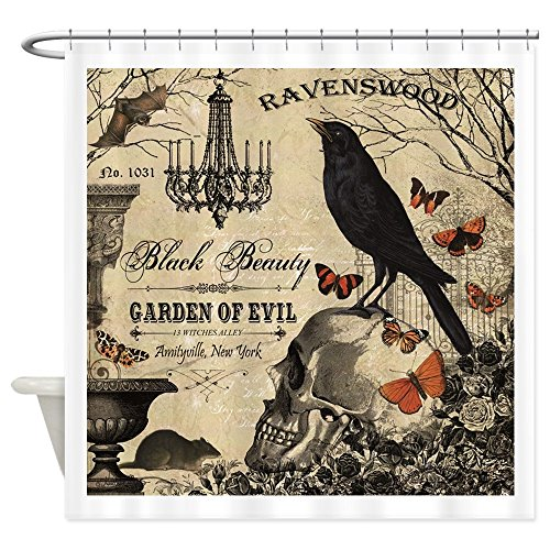 CafePress Modern Vintage Halloween Decorative Fabric Shower Curtain (69