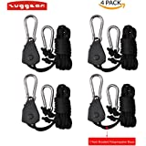 2 Pairs 1/8 Inch Adjustable Rope Ratchet Hangers, Zuggear Light Hanger Lighting Equipment Rope Hangers, Indoor Gardening Rope Clip Hangers for Carbon Filters, Ventilation Equipment Pulley System