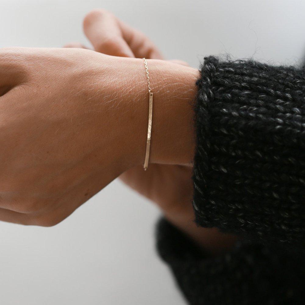 OSIANA 14K Gold Plated Copper Hand Chain Simple Heart Friendship Bracelet for Women