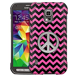 Samsung Galaxy S5 Active Case, Slim Fit Snap On Cover by Trek Peace on Chevron Zig Zag Pink and Black Case