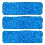 BettaWell 18 Inch Velcro Flat Microfiber Mop Pad Refills for Fit 15 to 18 Inch Bona, Libman, O-Cedar (Pack of 3)
