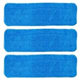 BettaWell 18 Inch Velcro Flat Microfiber Mop Pad Refills for Fit 15 to 18 Inch Bona, Libman, O-Cedar (Pack of 3)