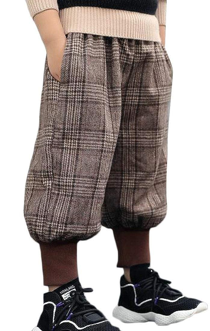 Sweatwater Big Boys Checkered Warm Fleece Winter Elastic Waist Sport Jogger Pants