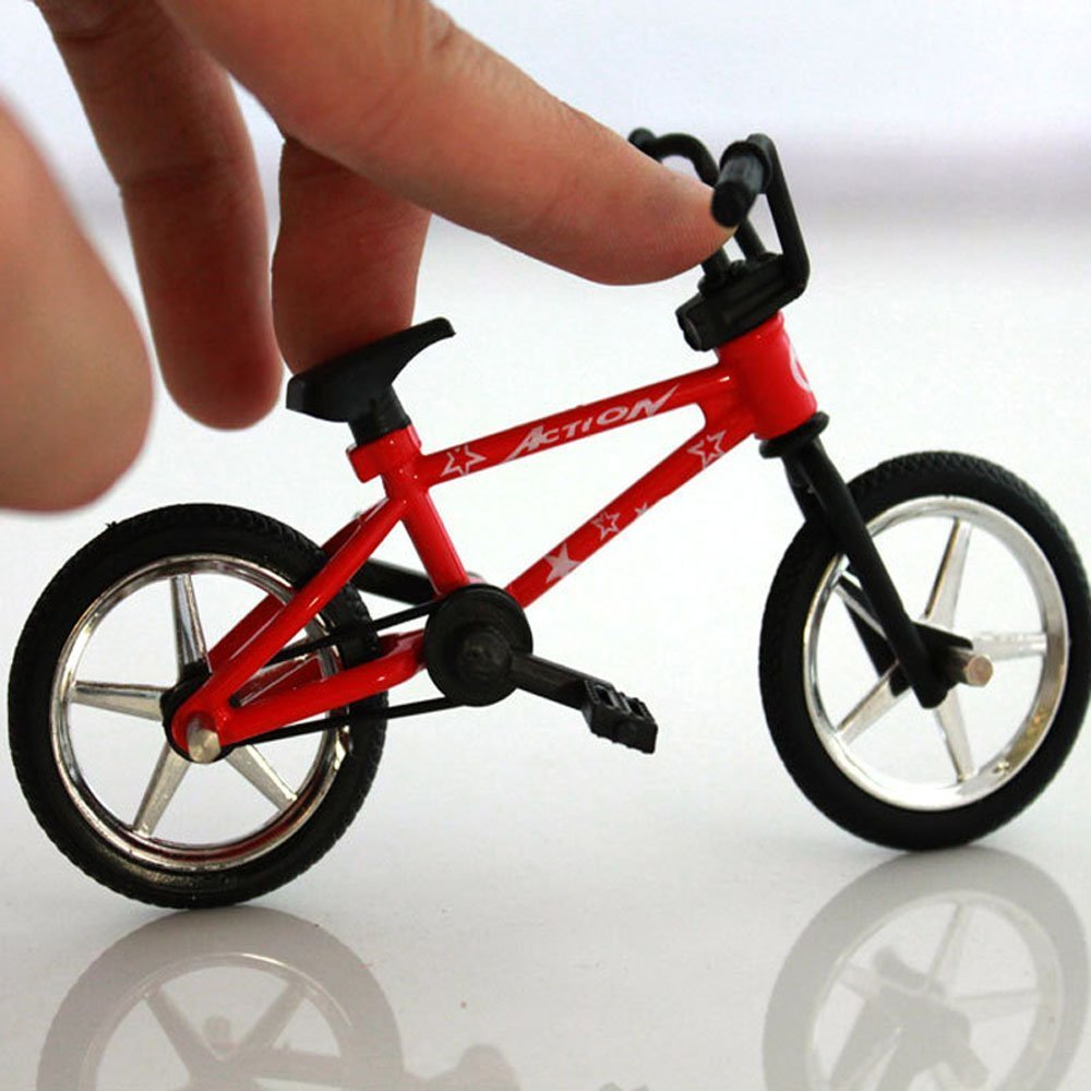 OWIKAR 4.9 Mini Alloy Finger Bikes Functional Finger Mountain Bike BMX Fixed Bicycle Novelty Toys Game For Kids Boys Girls Red Blue Yellow Green Random Color