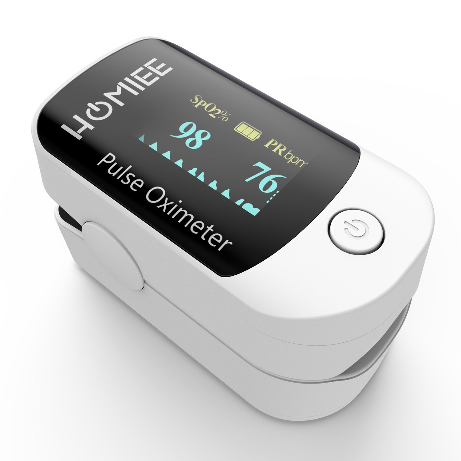 HOMIEE Blood Oxygen Saturation Monitor with Alarm, Auto-Sleep Function, 4 Directions OLED Display, Silicone Cover, Carrying Bag, Batteries and Lanyard, Sport and Aviation Use Only (White)