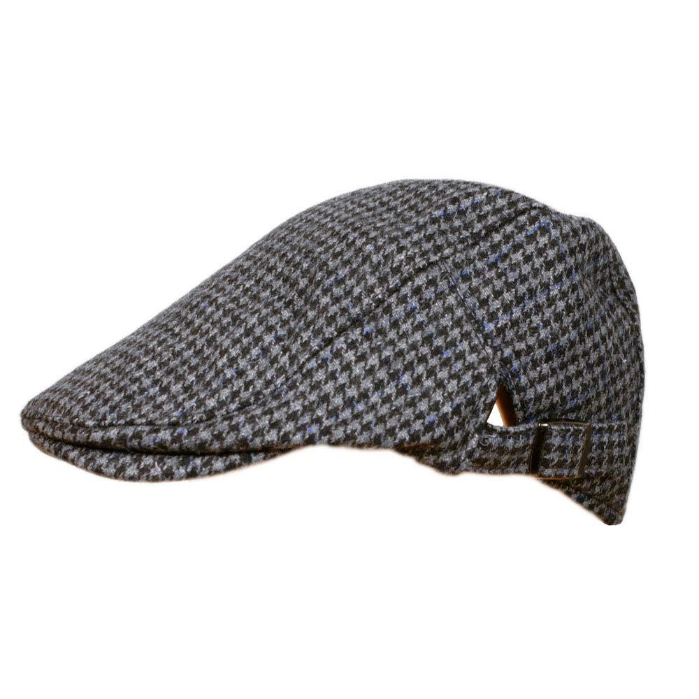 TOSKATOK Mens Tweed Flat Cap with adjustable sizing strap