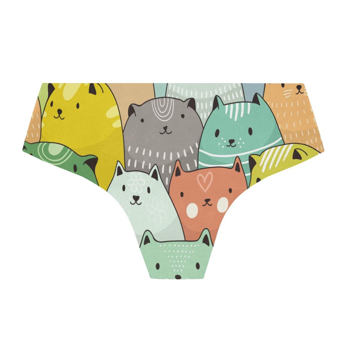 Seamless Cute Cats Bikini Underwear Low Rise-2 Pack