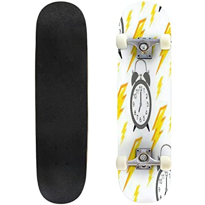 Classic Concave Skateboard Seamless Pattern with Alarm Clock and Yellow Lightning Time Pattern Longboard Maple Deck Extreme Sports and Outdoors Double Kick Trick for Beginners and Professionals : Sports & Outdoors [5Bkhe0303872]