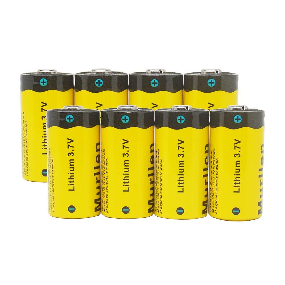 Murllen CR123A充電式リチウムアルロカメラバッテリー8個、3.7V 800mAh RCR123A 16340リチウムイオンバッテリー、Arloカメラ、フラッシュライト、セキュリティシステム用。 B078N8QHD6