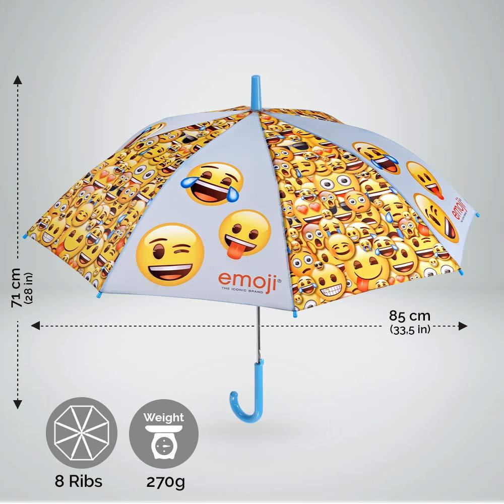 Paraguas Emoji para Niños y Niñas - Paraguas en Fibra de Vidrio, Resistente, Antiviento y Largo - Emoticones Whatsapp - Apertura de Seguridad - 6/9 Años ...