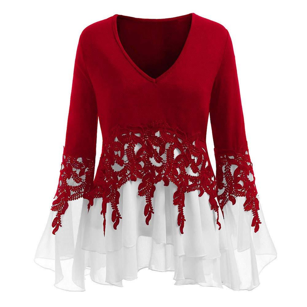 iQKA Women Plus Size Casual Lace Applique Pleated Chiffon T-Shirt Long Sleeve Top iQKA0712
