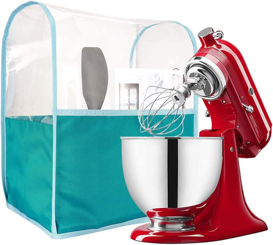Kitchen Mixer Cover Compatible with All 4-5 Quart Kitchenaid Mixers, Clear Stand Mixer Appliance Dust Cover, Waterproof Thicken Protector (green, M: Fits for All 5-8 Quart)