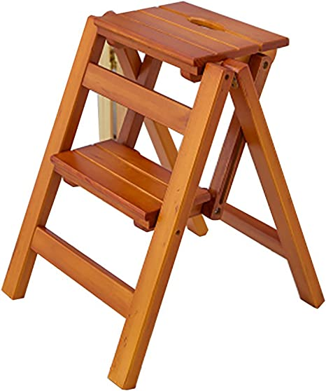 Max Load 150kg,Wood Color Folding Step Stool for Kids//Adults 2 Steps Wooden Ladder Stepladder Heavy Duty Chair for Library//Home//Office//Bathroom