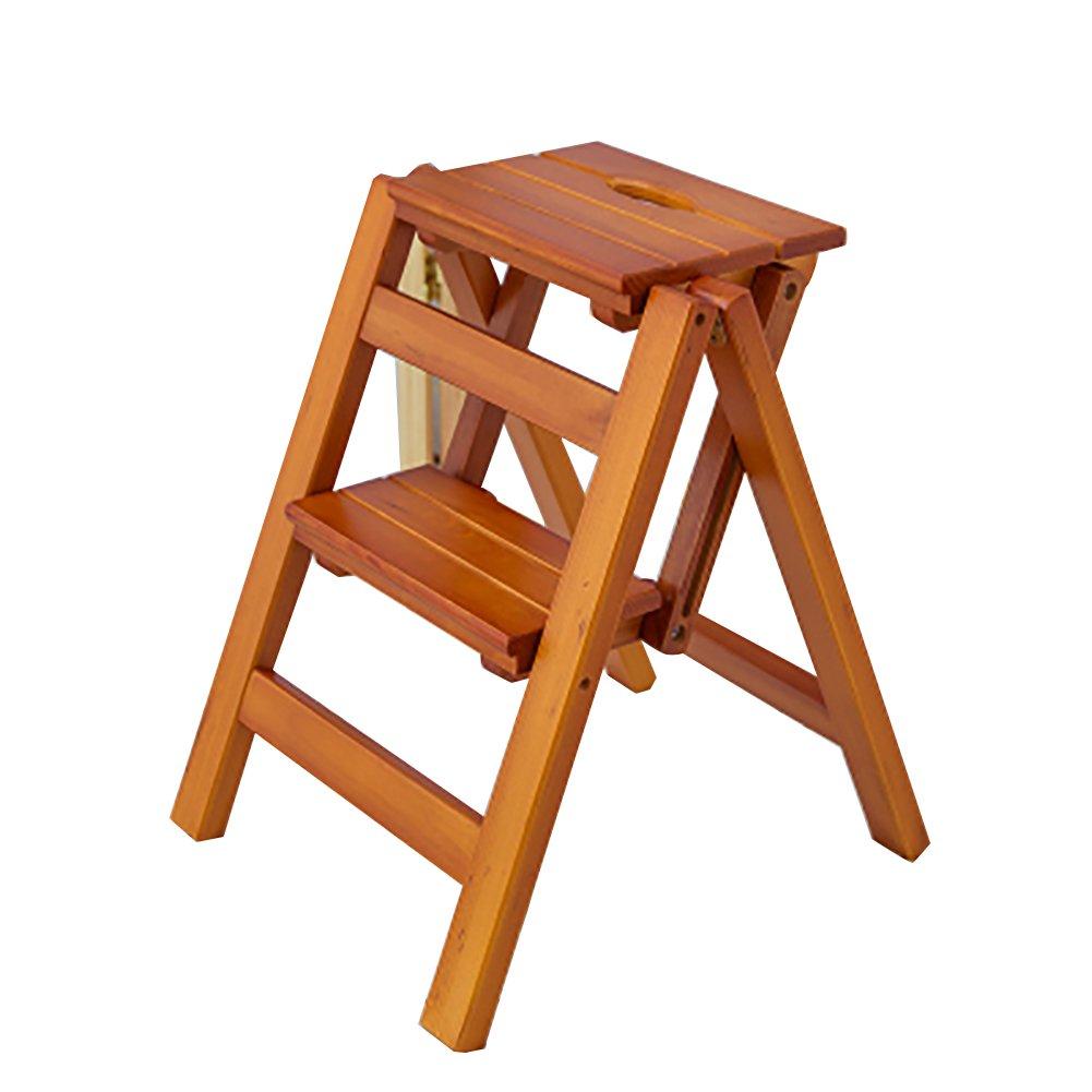 RMJAI ステップ 折りたたみはしごスツール2段スツール無垢材フラワーシェルフスタンド家庭用木製ラダーチェア多機能屋内上昇梯子小スツール (色 : A)  A B07RRTMV85
