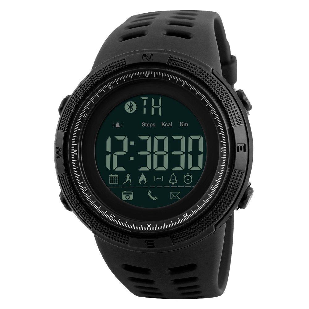 amstt Montre Homme Montre de sport analogique numé rique é tanche montre bracelet bluetooth Outdoor silicone horloge numé rique montres for Men  Noir) AWH1250-BB