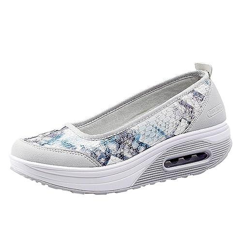 Zapatos para Mujer Otoño 2018 Zapatillas de Dama de Plataforma PAOLIAN Casual Cómodo Calzado de Señora de Lona Moda Breathable Zapatillas de Vestir: ...