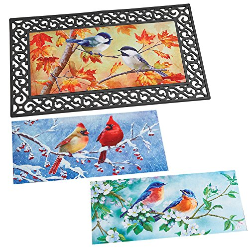- Collections Etc Interchangeable Seasonal Bird Art Rubber Door Mat, Fall, Spring, Summer Winter Outdoor Décor, 29.5 x 17.66 inches
