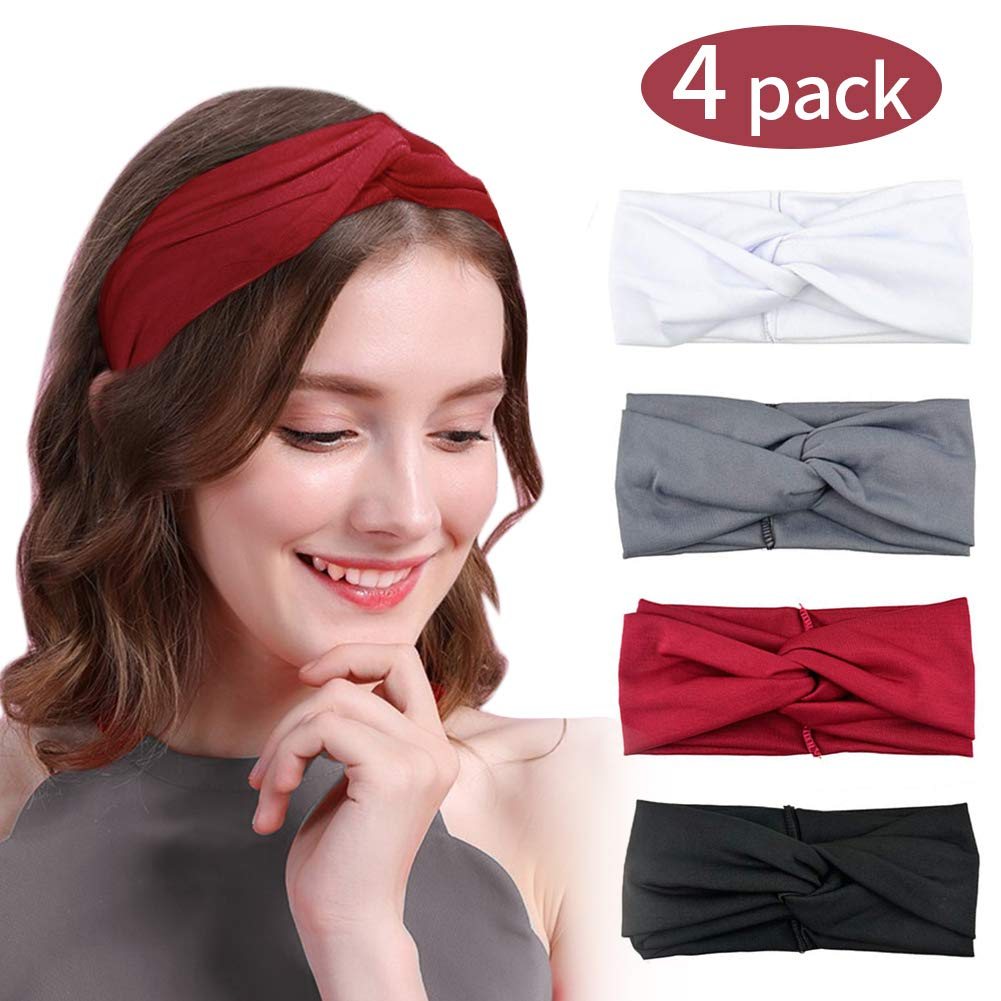 HZQDLN Headbands Cute Knotted Cross Hairbands Pure Color Stretchy Hair Accessories 4 Pack