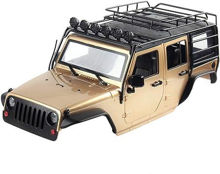 INJORA RC Carrocería Kit 313mm Distancia Entre Ejes Corpo Cuerpo con Portaequipajes Jeep Wrangler Rubicon Car Shell para 1/10 RC Crawler Axial SCX10 ...