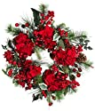Nearly Natural 4661 Hydrangea Wreath Holiday, 22-Inch