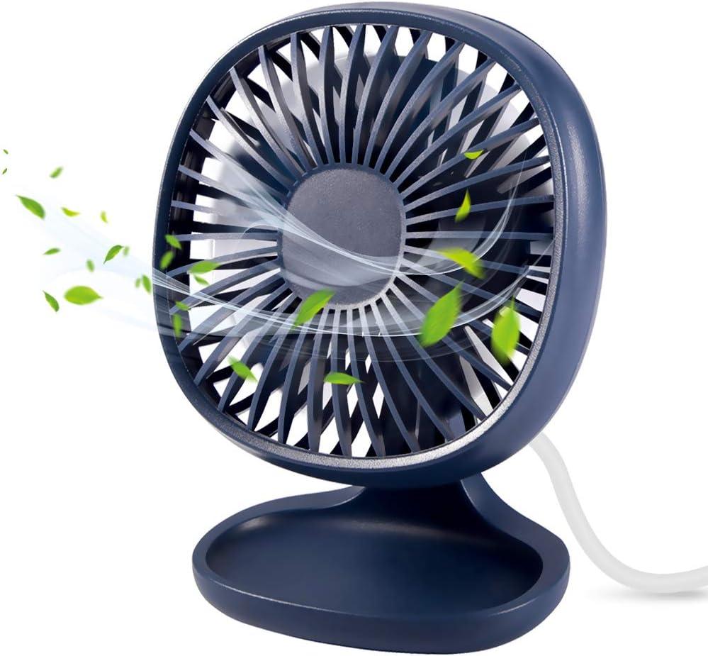 Mini USB Fan,TekHome Portable Desktop Office Fan,Personal Silent Desk Fan for Home Bedroom Table, 4 Inch,Navy Blue.