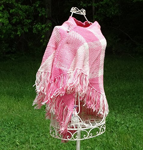 Alpaca Shawl Pink and White Handwoven by Barnett's Creek Farm,LLC