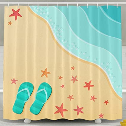 OKLETY Personalized Waterproof Shower Curtain Life Is Better In Flip Flops Bathroom Curtains 60x72 Inches