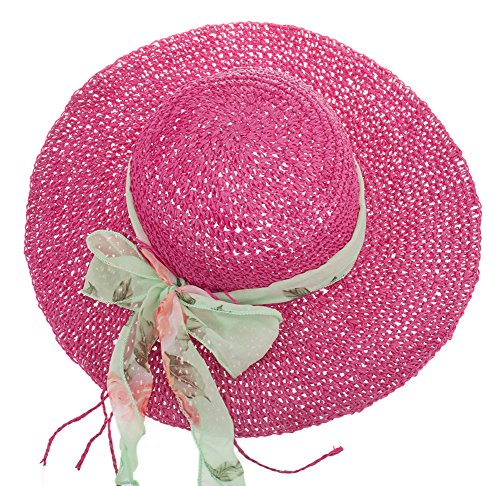 IL Caldo Womens Fascinatos Straw Hat Folding Handmade Crochet Cap Visor Tourism Hats,Rose