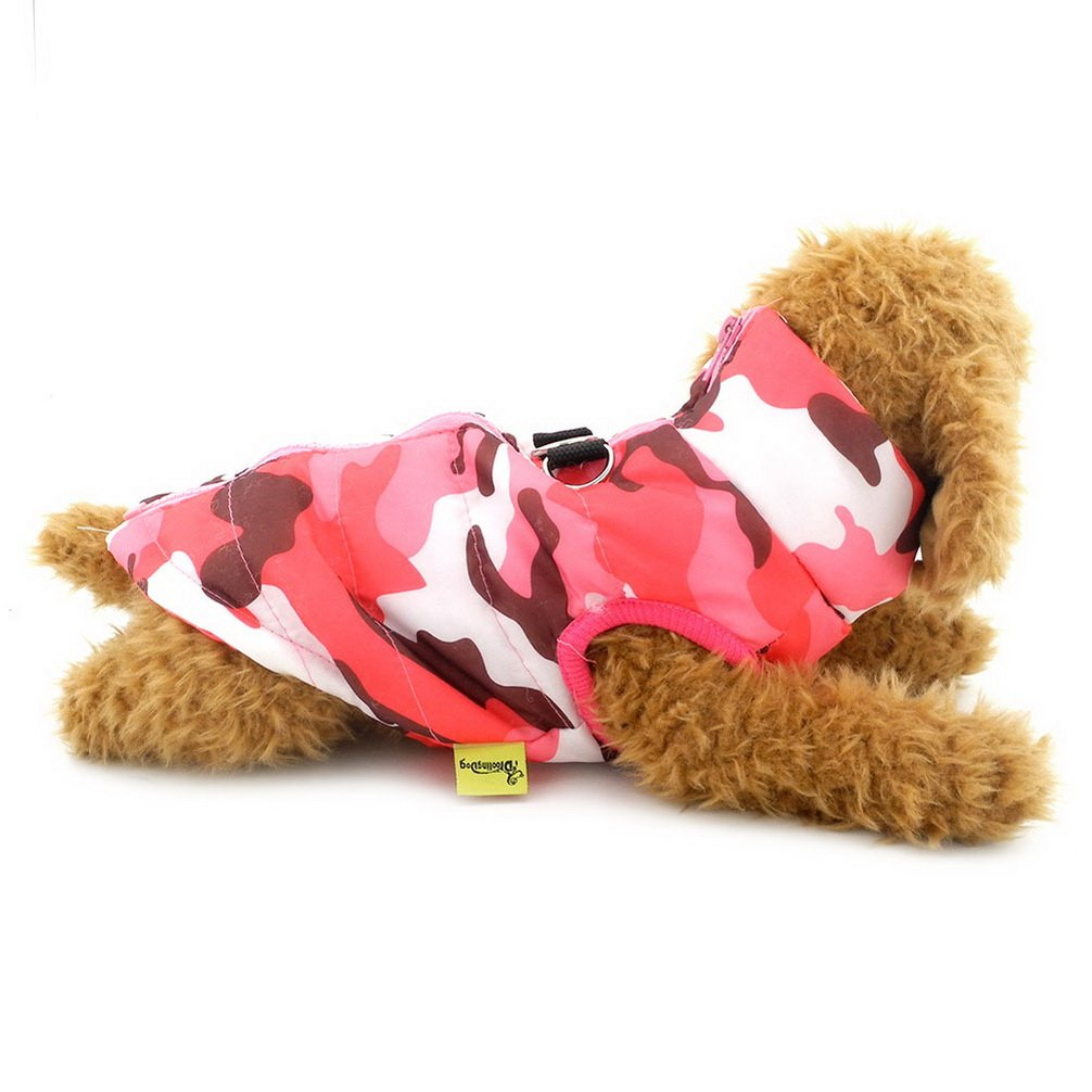 Ranphy Small Dog/Cat Soft Vest Harness Coat Padded Jacket Zipper Closure Toy Poodle Clothes Pink Camo L