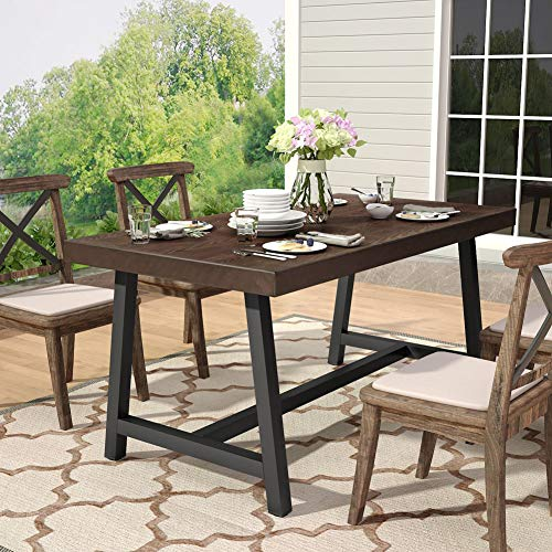 Tribesigns Outdoor Dining Table, Industrial Rustic Solid Wood Patio Dining Table with Heavy-Duty Metal Base Perfect for Patio, Chairs Not Included ()