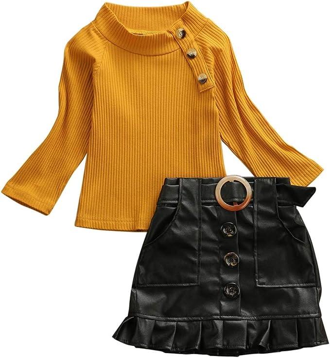Kaizizi Mini Falda de Piel sintética para niñas pequeñas: Amazon ...