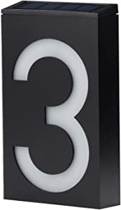LED Solar House Number Light, Garden Numbers Solar Powered Address Sign LED Illuminated Outdoor Plaques and Wall Art Lighted Up for Home Yard Street (Digit 3)