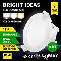 LUMEY 10 Pack LED Downlight Kit, CCT Changeable Daylight Warm White Amber Ceiling Bulb for Indoor Outdoor