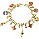 J&C Family Owned Sailor Moon 9 Charms Lobster Clasp Bracelet in Gift Box