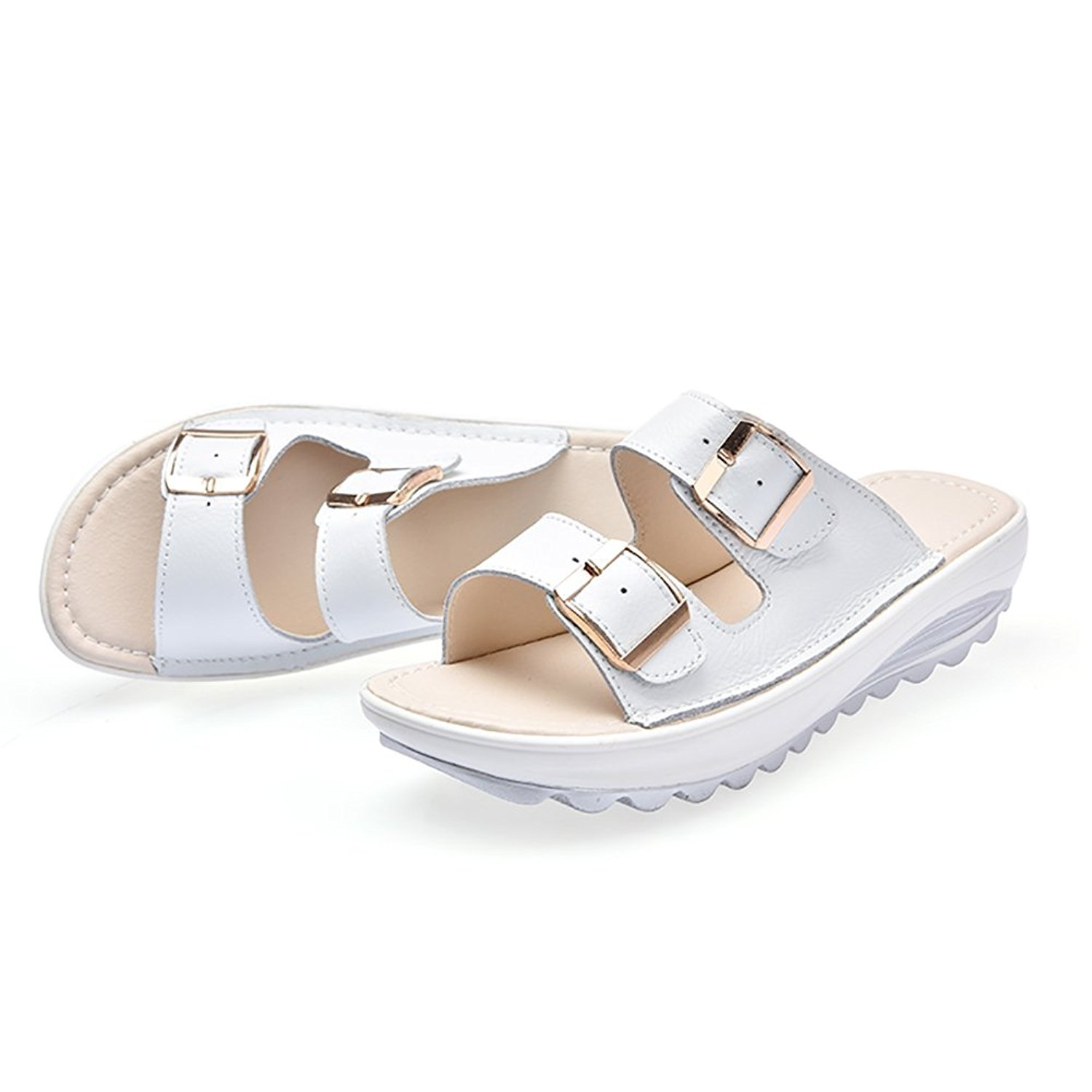 Amazon.com | LANSHI Womens Summer Soft Sole Casual Beach Slippers Comfortable Platform Sandals Slip on Shoes For Beach School Carnival White US 4.5 | ...