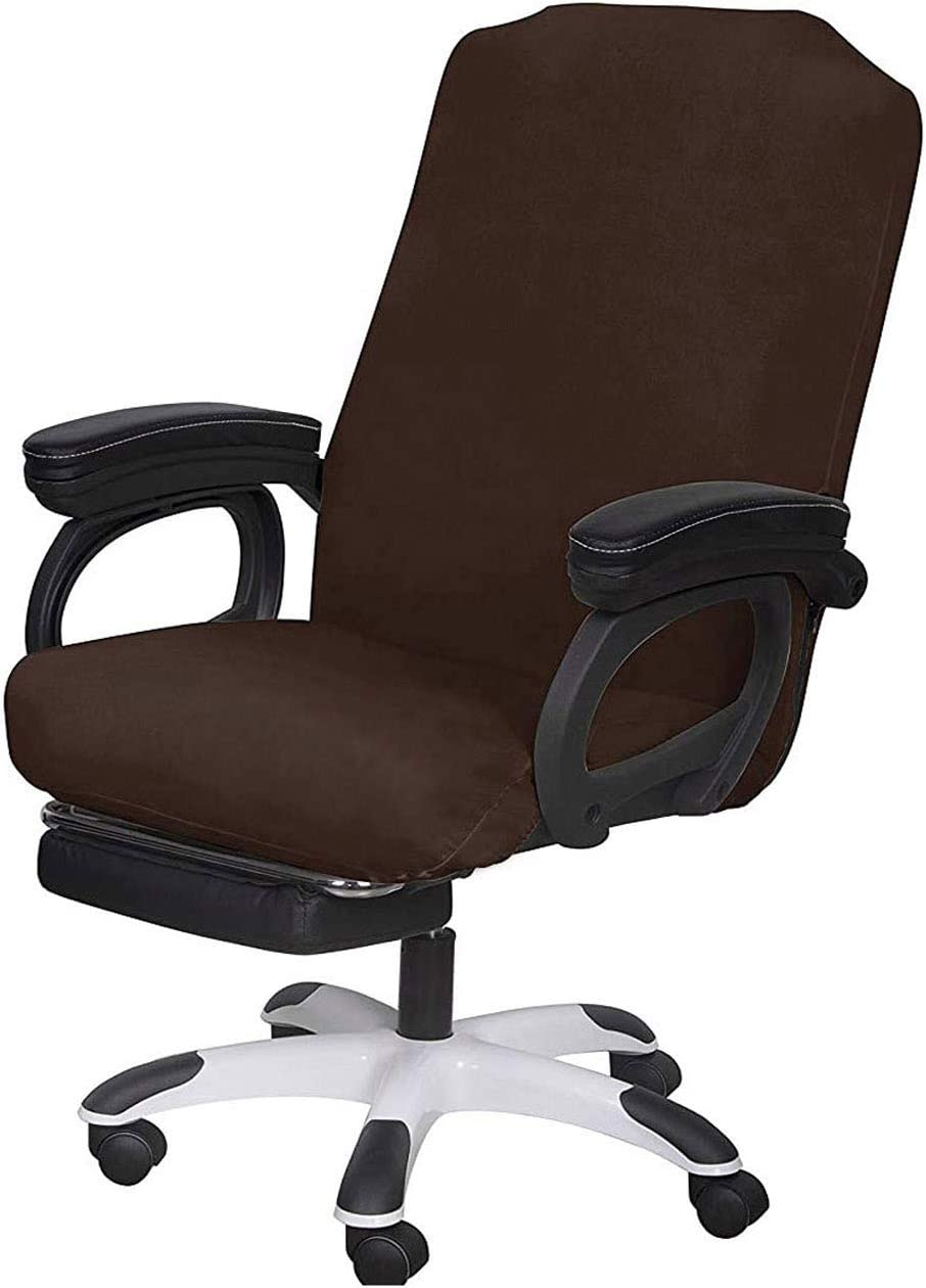 SARAFLORA Brown Office Chair Covers Stretch Washable Computer Chair Slipcovers for Universal Rotating Boss Chair Middle Size