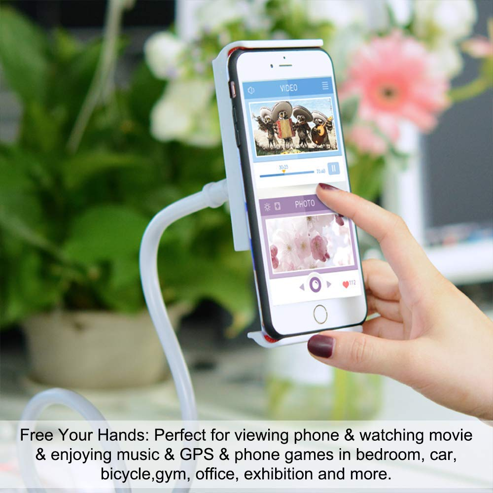 ZGJT Gooseneck Cell Phone Holder,Universal Phone tablet Holder, 360 Flexible lazy bracket,fit 4.3-7inches mini iPad iPhone Series/HUAWEI/Samsung Galaxy Tablets and more.
