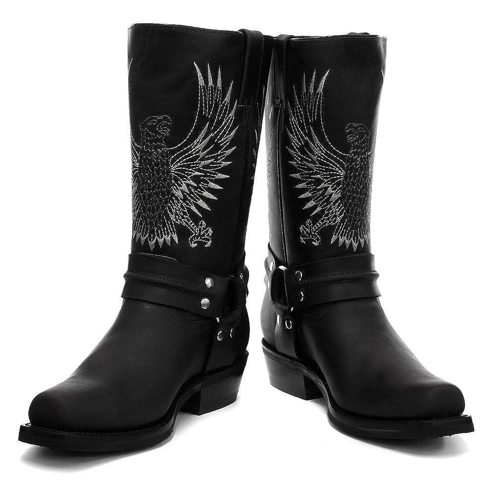 Schleifmaschinen Weißkopf-Seeadler aus schwarzem Leder Cowboy-Stiefel Slip auf quadratischen Fuß Mode vorne Stiefel neue westliche Mode Fuß stilvolle Unisex Hand gearbeitete Schuhe - df7176