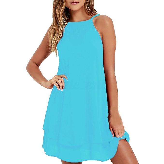 the best attitude b4f81 b0ae0 Damen Elegant Kleider T-Shirt Sling Kleid Ärmelloskleid ...