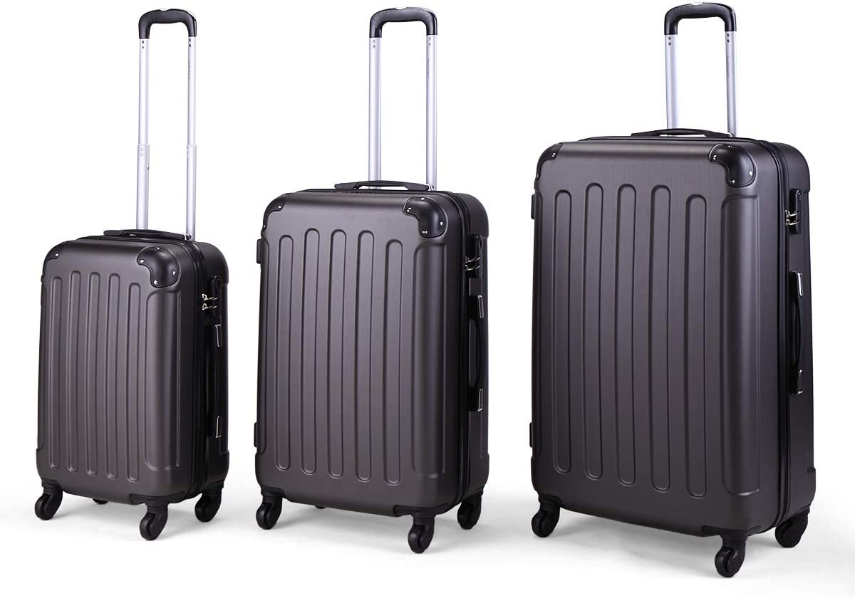 JAXPETY 3 Pcs Luggage Coded Lock Travel Set Bag ABS PC Trolley Suitcase Deep GREY
