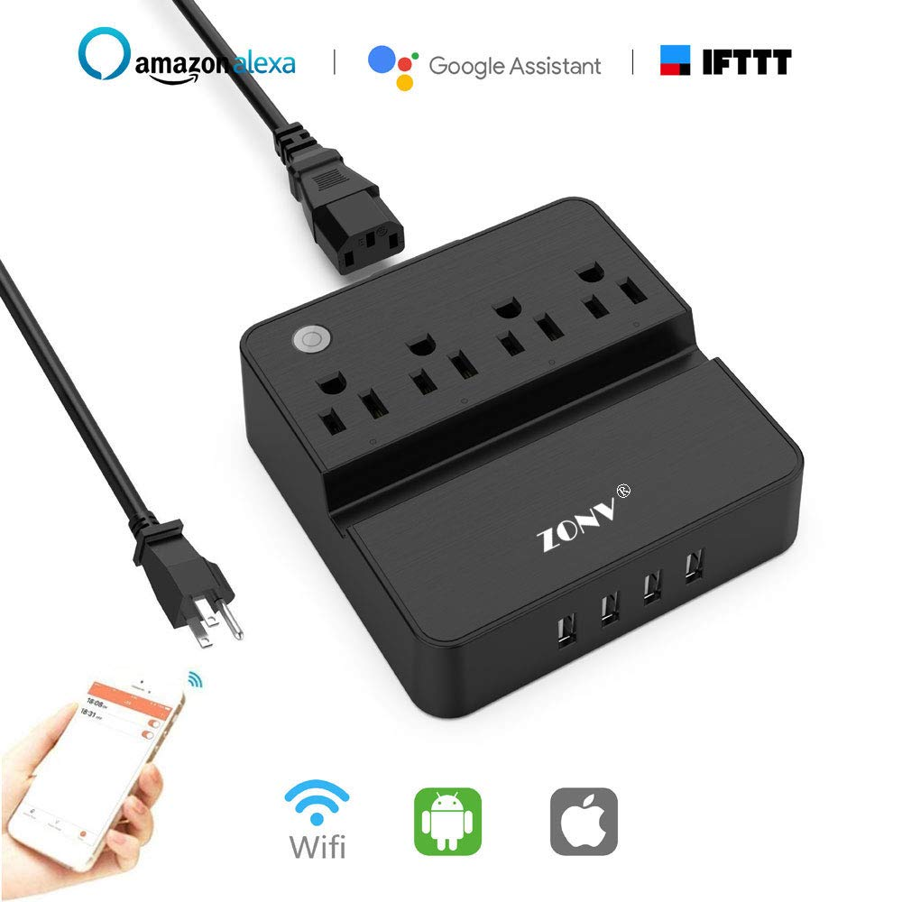 Smart Power Strip WiFi Plug Outlet Wireless Socket Surge Protector Compatible with Alexa Google Assistant IFTTT,4 AC Outlets and 4 USB Ports,Remote Voice Control,Timing Function,Phone Stand by ZONV
