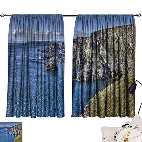 Anzhutwelve Window coverings Room Decorations Collection,Atlantic Coast Cliffs at Mizen Head County Cork Ireland Ocean Coastal Scenery Image,Blue Grey W63 x L63 Indoor Wall Curtain (Best Coast Led Shower Heads)