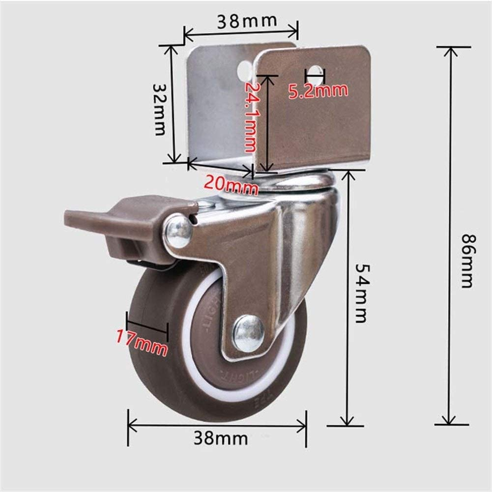 Byrhgood 4PCS 1.5 Inch Casters Furniture Accessories Plywood Rubber Universal Caster Crib Crib Pulley Mute With Brake Color : A, Size : 18mm