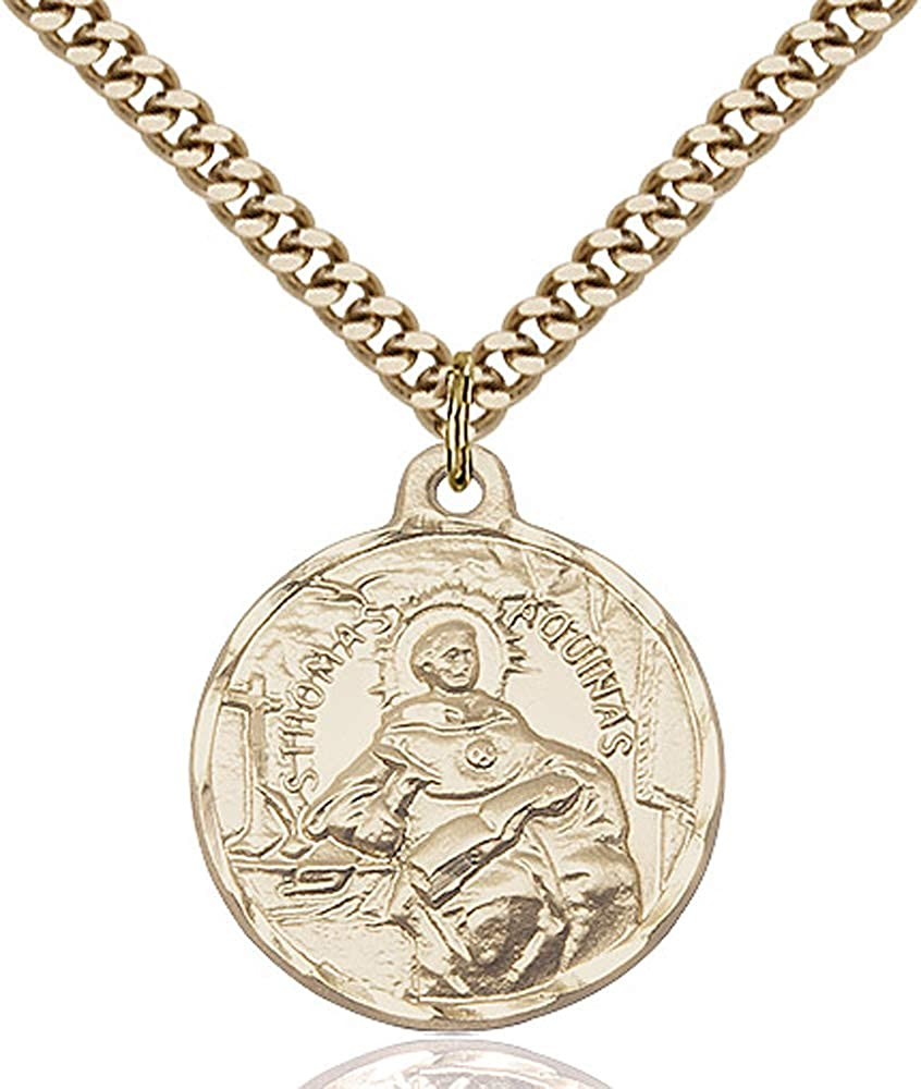Gold Plate Heavy Curb Chain Patron Saint Catholic Schools//Students 7//8 X 3//4 14kt Gold Filled St Thomas Aquinas Pendant