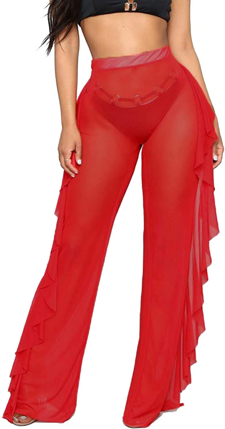 Willow Dance Women's Perspective Sheer Mesh Ruffle Pants Swimsuit Bikini Bottom Cover up Pants at  Women's Clothing store