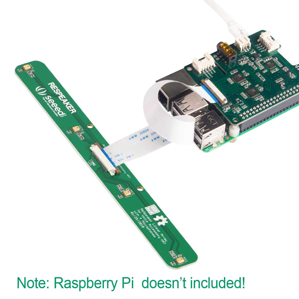 Voice Applications and Raspberry Pi Zero//Zero W//3B//2B//B+ MakerHawk ReSpeaker 4-Mics Linear Array Kit Based on AC108 ADC and AC101 DAC Chip for AI
